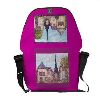 Paris Inspired Cityscape With Eiffel Tower Raspber Courier Bag