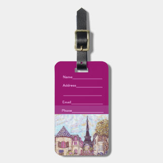 Paris Inspired Cityscapes With Eiffel Tower Luggag Tags For Luggage