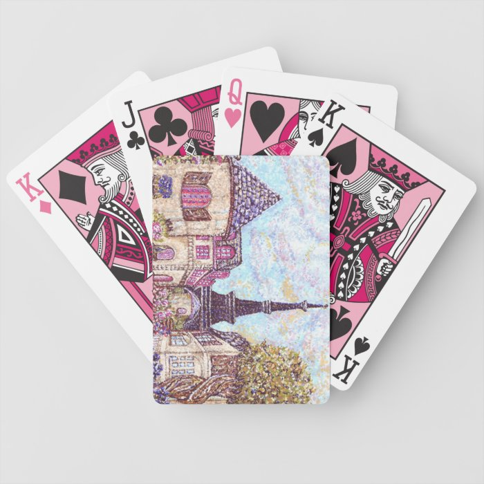 Paris Inspired Eiffel Tower PointillismPlaying Car Bicycle Playing Cards