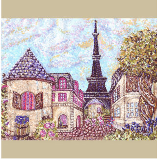 Paris Inspired Pointillism Eiffel Tower Ornament Cut Out