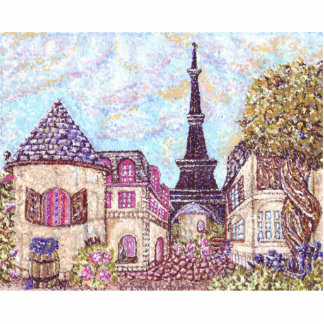 Paris inspired pointillism pin photo cut outs