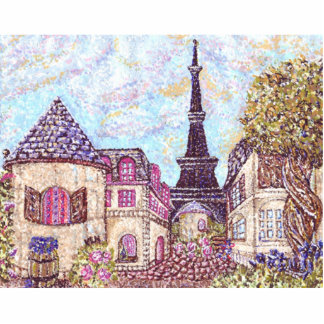 Paris Inspired Pointillism With Eiffel Tower Photo Photo Cutout