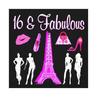 PARIS INSPIRED SWEET 16TH BIRTHDAY DESIGN CANVAS PRINT