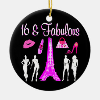 PARIS INSPIRED SWEET 16TH BIRTHDAY DESIGN CERAMIC ORNAMENT
