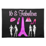 PARIS INSPIRED SWEET 16TH BIRTHDAY DESIGN CLOTH PLACE MAT