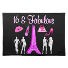 PARIS INSPIRED SWEET 16TH BIRTHDAY DESIGN CLOTH PLACEMAT