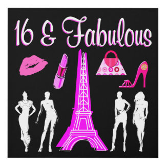 PARIS INSPIRED SWEET 16TH BIRTHDAY DESIGN PANEL WALL ART