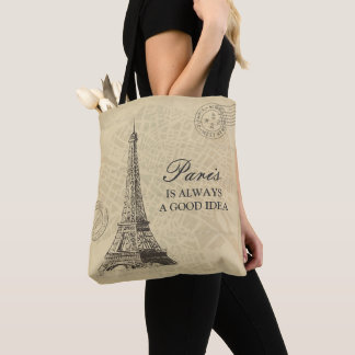 Paris is always a good idea Quote Vintage City Map Tote Bag