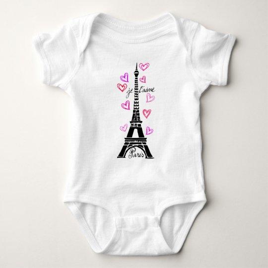 PARIS JE T'AIME EIFFEL AND PINK HEARTS BABY BODYSUIT
