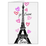PARIS JE T'AIME EIFFEL AND PINK HEARTS GREETING CARD