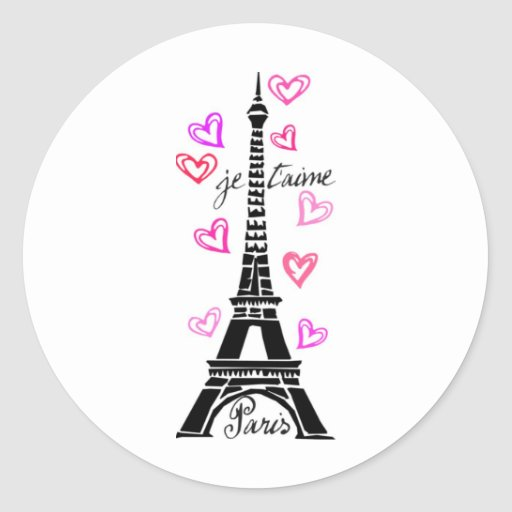 PARIS JE T'AIME EIFFEL AND PINK HEARTS CLASSIC ROUND STICKER