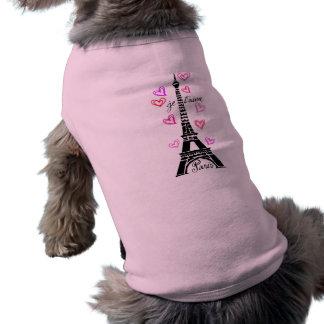 PARIS JE T'AIME EIFFEL AND PINK HEARTS DOG TEE