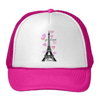 PARIS JE T'AIME EIFFEL AND PINK HEARTS TRUCKER HAT
