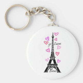 PARIS JE T'AIME EIFFEL AND PINK HEARTS KEYCHAIN