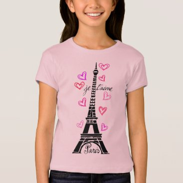 Valentines Themed PARIS JE T'AIME EIFFEL AND PINK HEARTS T-Shirt