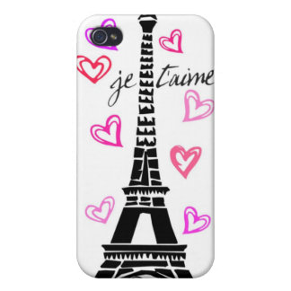 PARIS JE T'AIME EIFFEL TOWER AND HEARTS PRINT CASE FOR iPhone 4