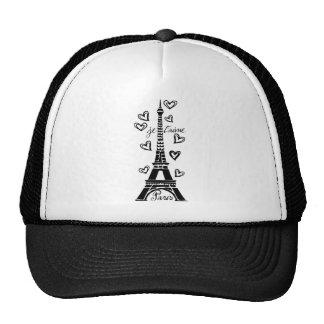 PARIS JE T'AIME EIFFEL TOWER AND HEARTS PRINT TRUCKER HAT