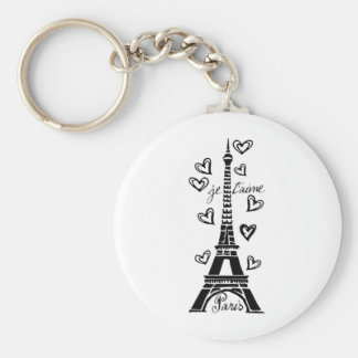 PARIS JE T'AIME EIFFEL TOWER AND HEARTS PRINT KEYCHAIN