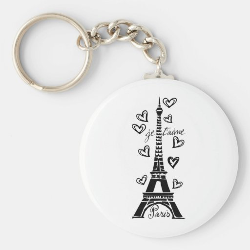 PARIS JE T'AIME EIFFEL TOWER AND HEARTS PRINT KEYCHAINS