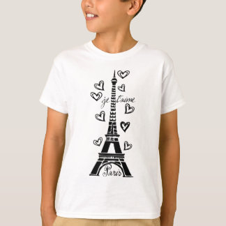 PARIS JE T'AIME EIFFEL TOWER AND HEARTS PRINT T-Shirt