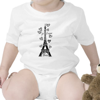 PARIS JE T'AIME EIFFEL TOWER AND HEARTS PRINT BABY BODYSUITS
