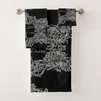 Paris Je T'aime Eiffel Tower Scroll Print Bath Towel Set