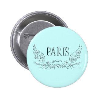 PARIS Je t'aime ( i love you) 2 Inch Round Button