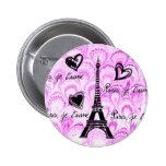 Paris, je t'aime in pink watercolor pinback buttons