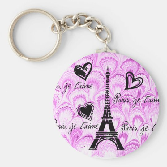 Paris, je t'aime in pink watercolor keychain
