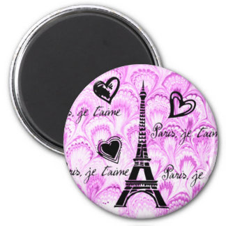Paris, je t'aime in pink watercolor refrigerator magnet