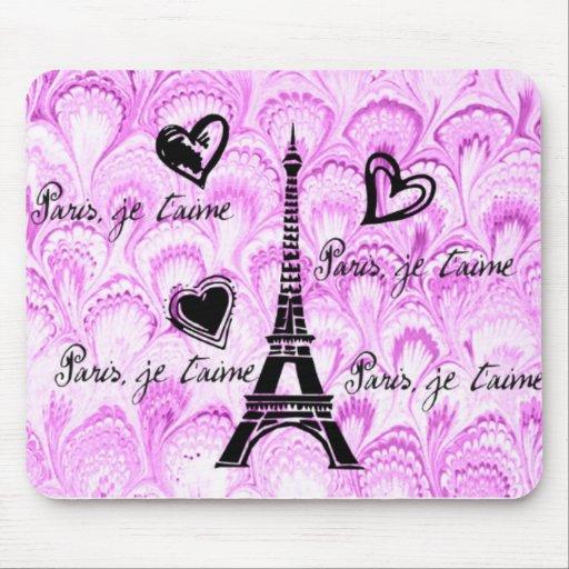 Paris, je t'aime in pink watercolor mousepad