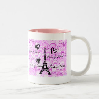 Paris, je t'aime in pink watercolor Two-Tone coffee mug