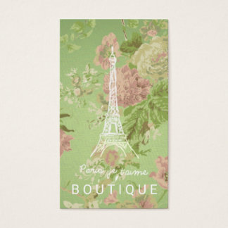 Paris, je t'aime Vintage Floral Eiffel Tower Business Card