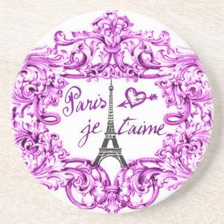 PARIS JET'AIME BAROQUE FRAMED EIFFEL AND HEART DRINK COASTER