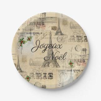 Paris Joyeux Noel Christmas Vintage Paper Plate