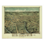 Paris Kentucky 1870 Panoramic Map Poster