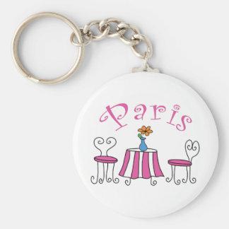 Paris Basic Round Button Keychain