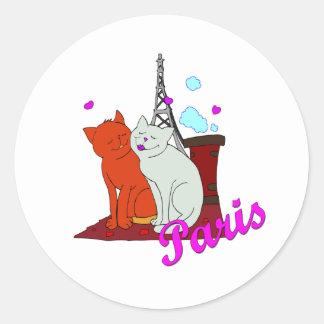 Paris Kitties Classic Round Sticker