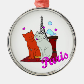 Paris Kitties Metal Ornament