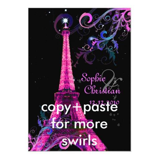 Paris la nuit eiffel tower wedding invitations zazzle - Salon des seniors paris invitation ...