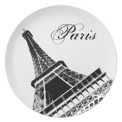 París, la placa de la torre Eiffel Plato Para Fiesta