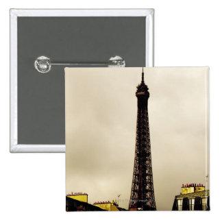 París, la torre Eiffel. 2 Pin Cuadrada 5 Cm