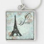 Paris La Tour Eiffel French Design Silver-Colored Square Keychain