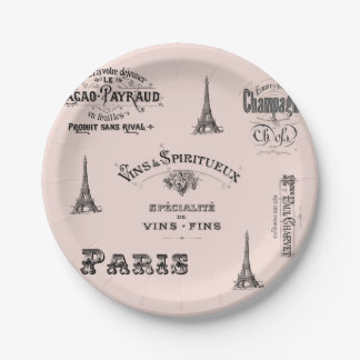 Paris Label Collage French Paper Plate 7 Inch Paper Plate