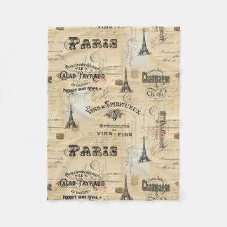 Paris Label Collage French Postcard Fleece Blanket