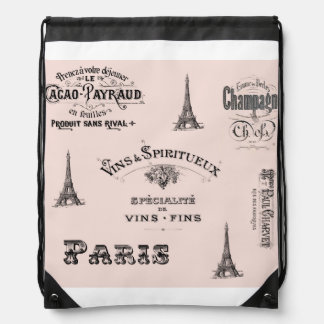 Paris Label Collage Pink Drawstring Backpack