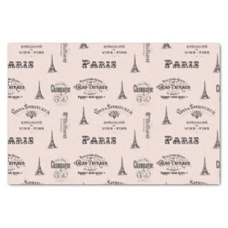 "Paris Label Collage Pink Tissue Paper 10"" X 15"" Tissue Paper"
