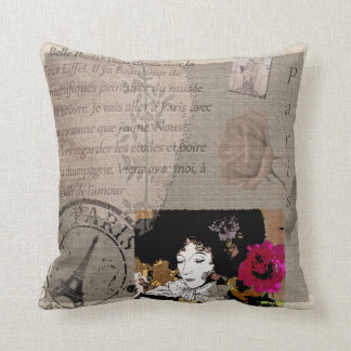 Paris Lady with Hat Pink Flower Collage Pillows
