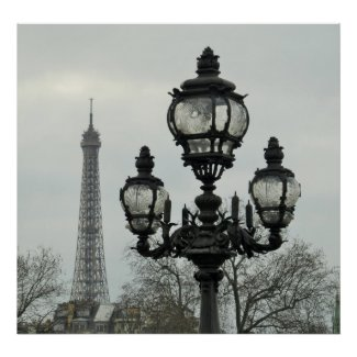 Paris Lamp Post and Eiffel Tower Scene in Winter Poster