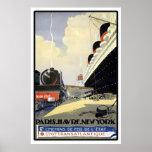 """Paris, Le Havre, New York"" Vintage Travel Poster"